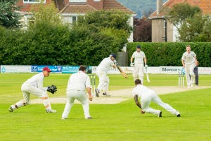 Peter Trego takes a catch low to his left at second slip, Yes it carried! WsM CC vs Chard CC, 26/8/2017