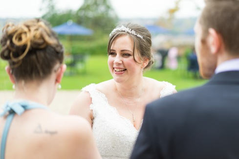 The new Mrs. Bowsher celebrates with fellow Mardonites Mols and Gaz, Farnham Castle, 14/10/2017
