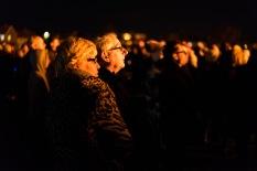 Onlookers enjoy the lighting of the bonfire, Bonfire Night at WsM CC, 04/11/2017