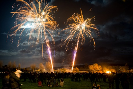 Crowds turn their attention from the Bonfire to the moonlit fireworks display, Bonfire Night at WsM CC, 04/11/2017