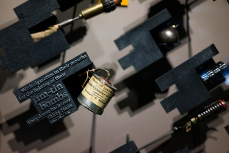 A mass produced hand grenade based completely on the home-made jam-tin versions being used in the trenches, Imperial War Museum, London, 07/12/2017