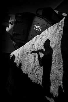 A shadow puppet takes aim in the trenches at the WW1 exhibit, Imperial War Museum, London, 07/12/2017