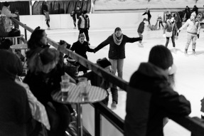 Hattie and Tui skating watched by Tom Sam Ryan and Oscar, Icescape at the Tropicana, WsM, 29/11/2017