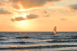 Windsurfing at Sunset, Weston Bay, Weston-super-Mare, 24/07/2014